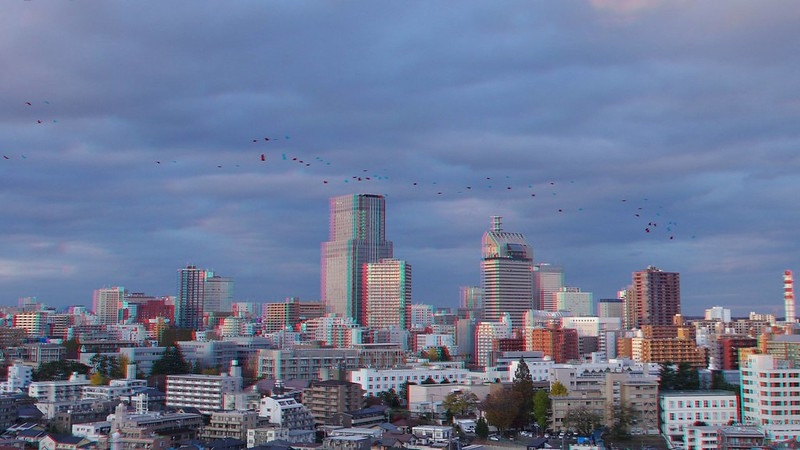 Central of Sendai with crows, anaglyph