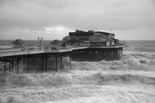 Cromer pier in stormy seas