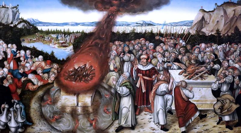 IMG_6062V Lucas Cranach Le Jeune. 1515-1586 Wittenberg.  Elie et les prêtres de Baal. Elijah and the priests of Baal. 1545.   Dresde. Gemäldegalerie alte meister. Ecole maniériste
