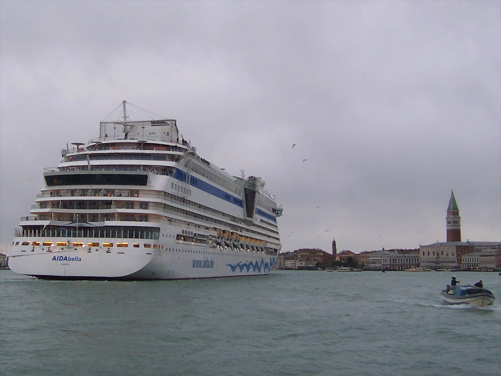 Too big?  A cruise ship enters the Venetian lagoon