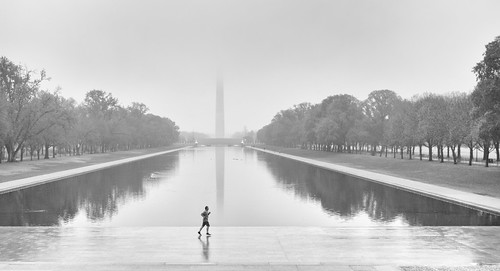 monochrome fog reflectingpool mist sunrise obelisk mirror street water runner sky washingtondc bw reflection landscape washingtonmonument washington districtofcolumbia unitedstates us minimalist