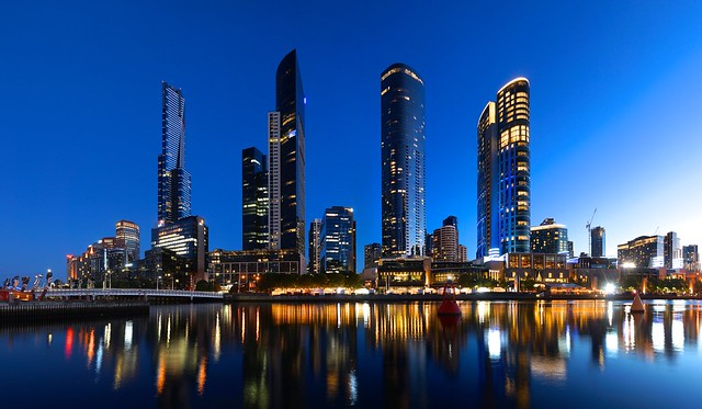 Southbank skyline from accross the Yarra at sunset: Eureka Tower, Freshwater Place, Prima Tower and Crown Tower, Melbourne, Victoria, Australia