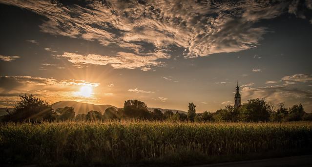 Coucher de soleil à Valff (Mont Saint Odile - Alsace)