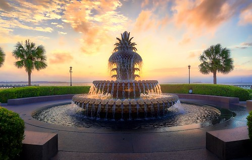 waterfrontpark charleston pineapplefountain southcarolina sunrise sunset