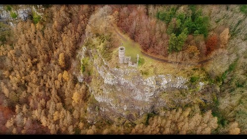 gbr djiphantom4advanced snapseed 4k video perth perthshire scotland landscape anthropocene mankindnature gimp kinnoullhill tower building ruin colour vibrant saturated aerial drone seasonal autumn winter trees cliffs rock rocky outcrop orange green folly