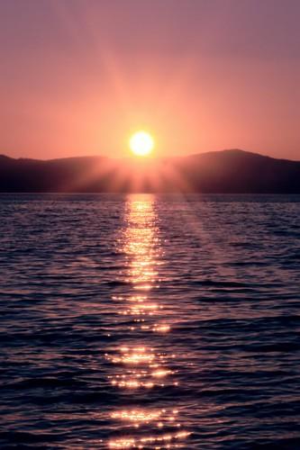 portrait verticle sunset lake alpine orange pink blue joelach