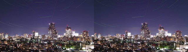 Night view of central of Sendai with stars, 4K UHD, stereo cross view