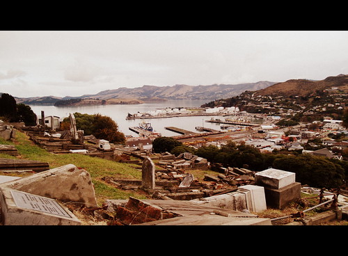 lyttelton newzealand cemetery harbour landscape travel port cinemascope photo photograph capture tones scenery image bushman58929 light