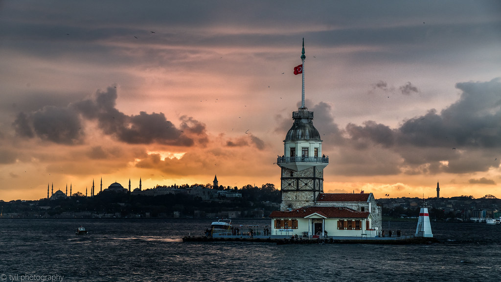 Maiden Tower Sunset Wallpaper Istanbul 4k Wallpaper Versi