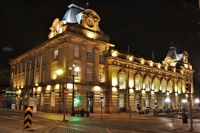 São Bento Railway Station at night