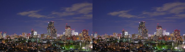 Night view of central of Sendai, HDR, 4K UHD, stereo cross view