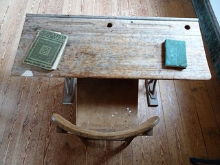 Wisanger on Kangaroo Island. School built in 1885. Early days chair desk and history book. | by denisbin