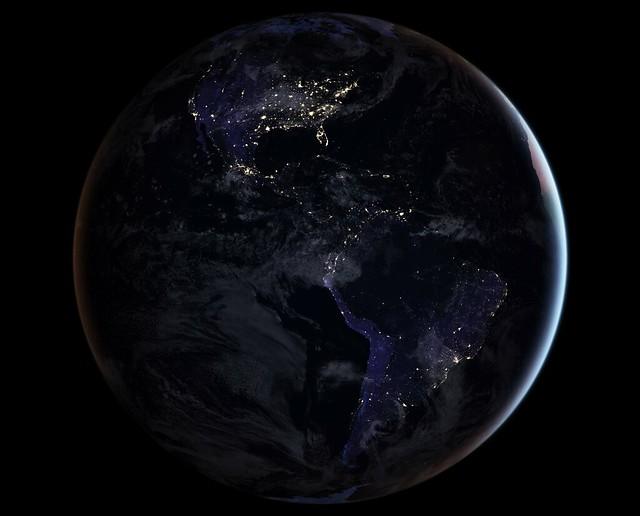 Full-Hemisphere Views of Earth at Night