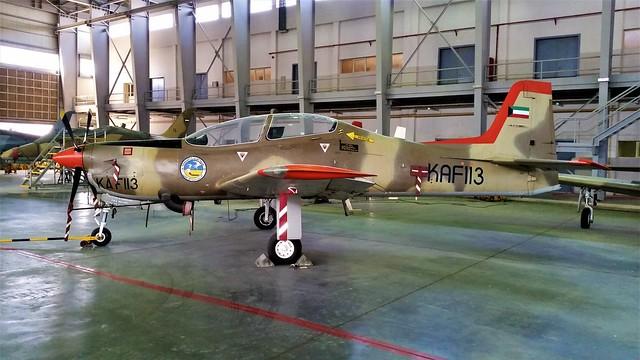 Tucano Mk-52 KAF113 ex 19Sq Kuwait-AF/ KAF. Stored, Ali Al Salem Air-Base, Kuwait. 2016.