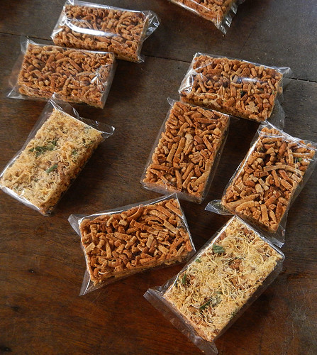 The rice strips converted to sweet snacks and packaged at the snack factory on the Mekong River in Vietnam