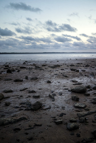 blue beach sand rocks sunset evening clouds wolken natur wasser waterscape ocean hervey bay queensland