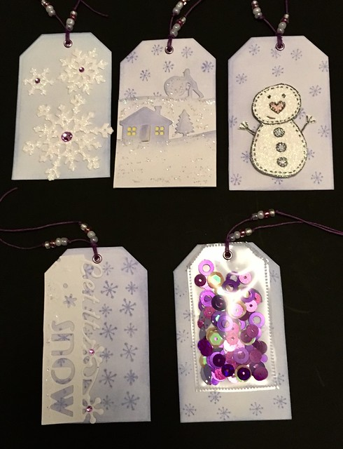 Ten winter tags for a swap - 5 lilac...