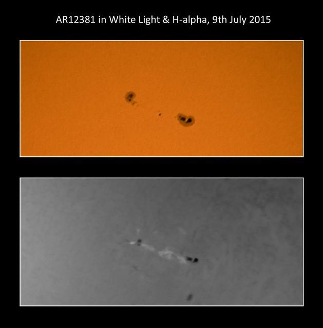 AR12381 in White Light & H-alpha 09/07/15