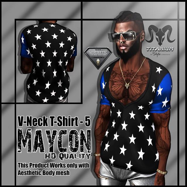 [Titanium] - Maycon V-Neck T-Shirt 5