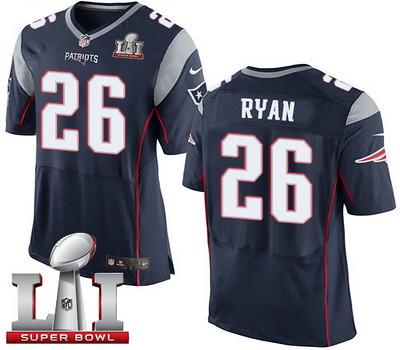 Nike Patriots #26 Logan Ryan Navy Blue Team Color Super Bowl LI 51 Men039;s Stitched NFL New Elite Jersey