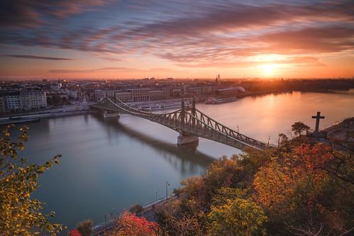 hungary autumn fujixpro2 sunrise bridge travel danube xf14mmf28 city fall river europe budapest clouds hu