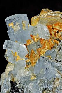 beryl var. aquamarine, mica var. muscovite, tourmaline var. schorl