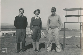 Goody, the author [Mary] and warden Peter Conder by the pollen catcher on the Knoll, Skokholm. 1948