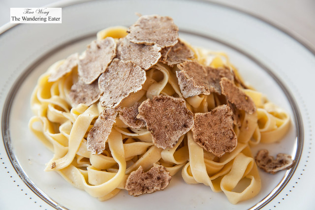 Homemade pasta with shaved white truffles
