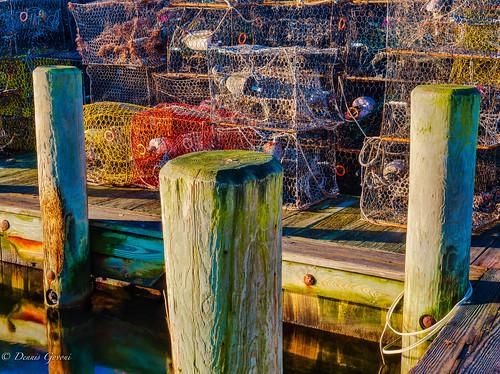 background crabpots fall landscape maryland pier sunrise water