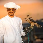 Falcon training in the desert near Dubai