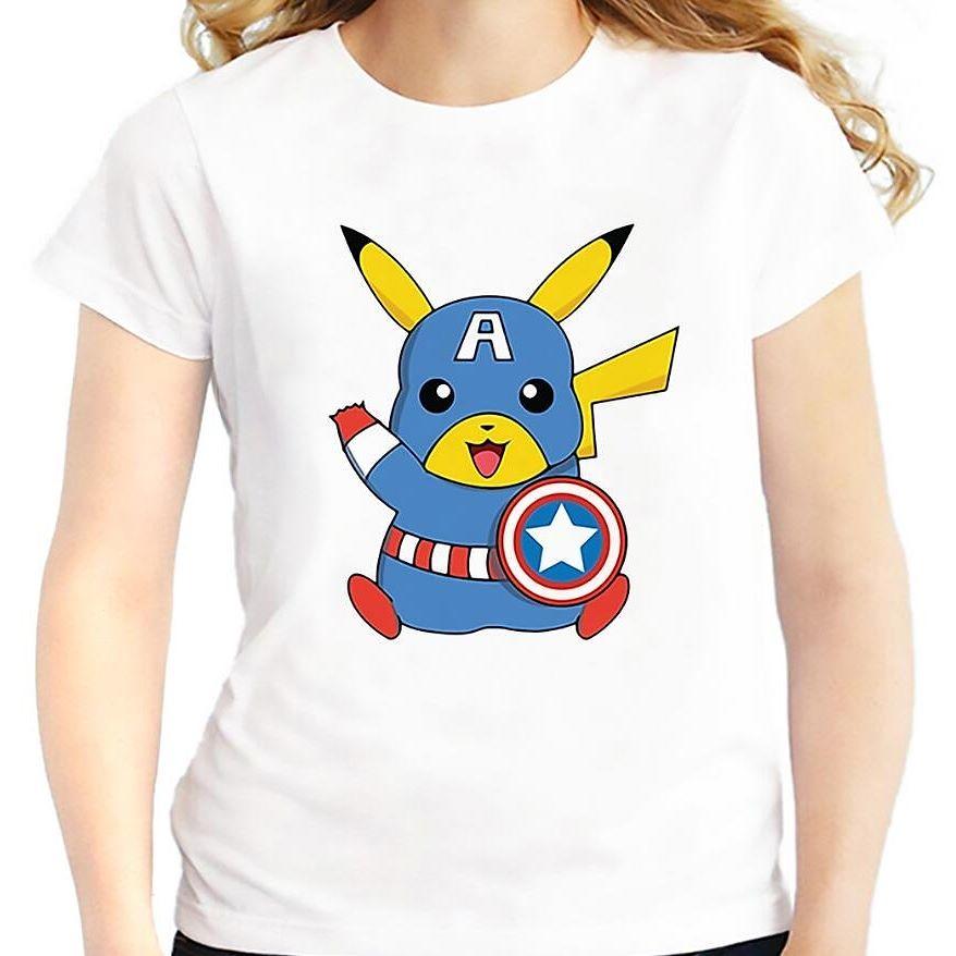 57eb0dece ... Captain America Pikachu White T-shirt Women #Blue,  #CaptainAmericaPikachuWhiteT-ShirtWomen,