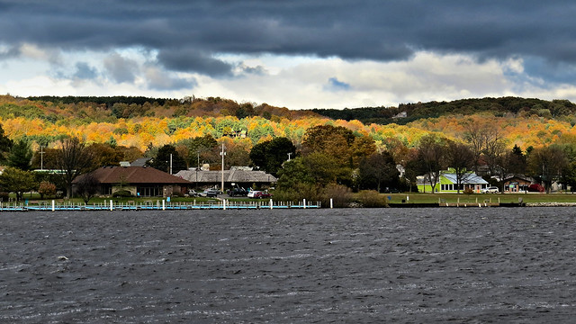 Frankfort, Michigan across Betsie Lake on a cloudy fall day