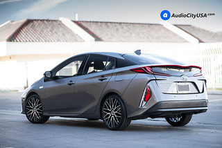 2017 Toyota Prius Prime on 18x7.5 DRW Wheels D3 Black Machine | by www.audiocityusa.com