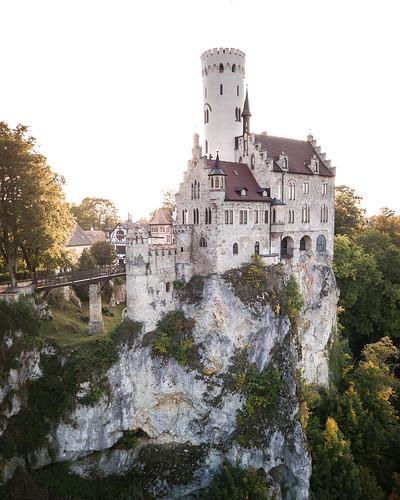schloss lichtenstein castle burg drone autumn fall sunset
