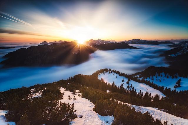 Hochnebel über dem Tegernseer Tal
