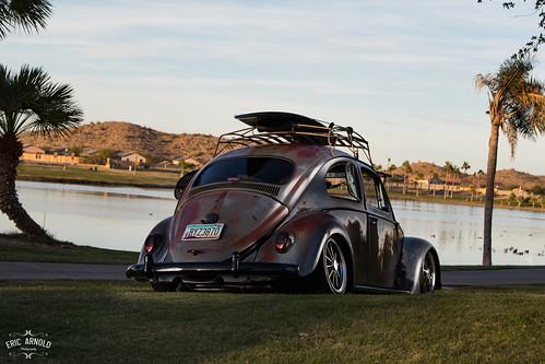 vw volkswagen bug beetle patina rust rusty low lowered car auto automotive safari window popout lake estrella goodyear az arizona palm tree canon 80d photoshoot grass landscape flash remote offcamera offcameraflash composite