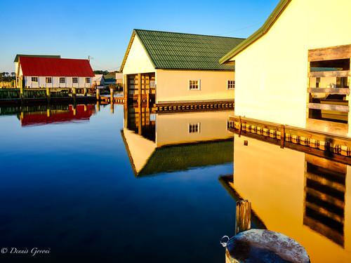 autumn building fall landscape marina maryland reflection sunrise water