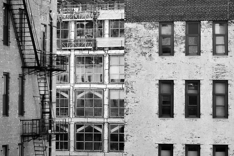 architectural facades, brick. windows, fire escapes, looking south across West 27th Street near 10th Avenue, New York, Nikon D3300, mamiya sekor 80mm f-2.8, 11.27.17