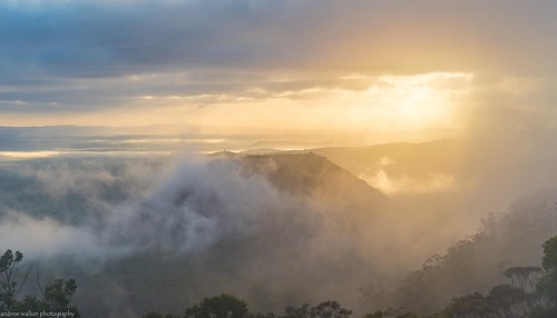 sunrise low cloud rain morning fog mist great dividing range toowoomba queensland australia