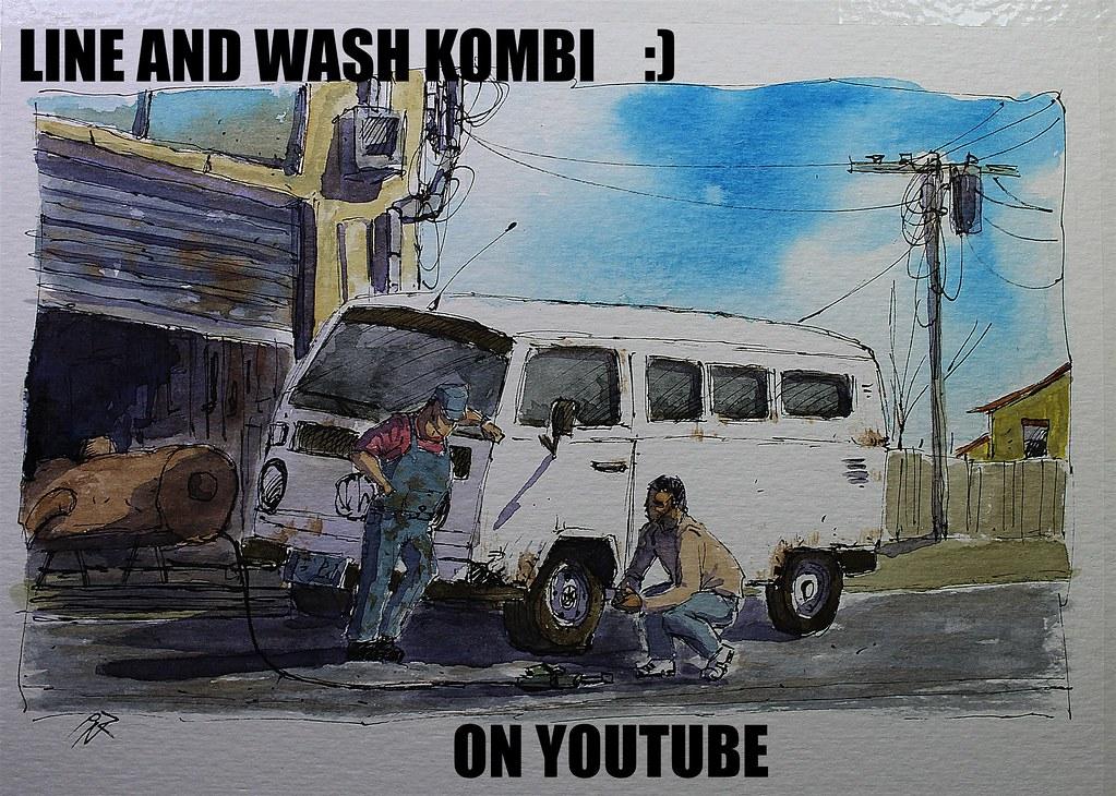 Line And Wash Kombi In Mechanical Garage Urban Sketch Styl Flickr