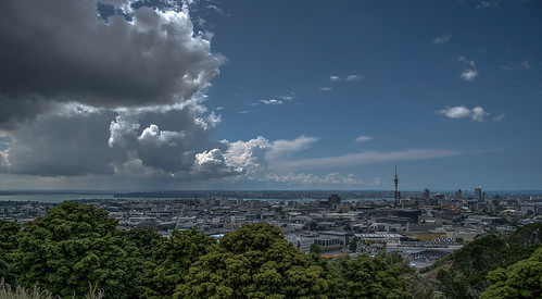 newzealand auckland mounteden skytower clouds cityscape landscape summer northisland bridge blue trees sea ocean city