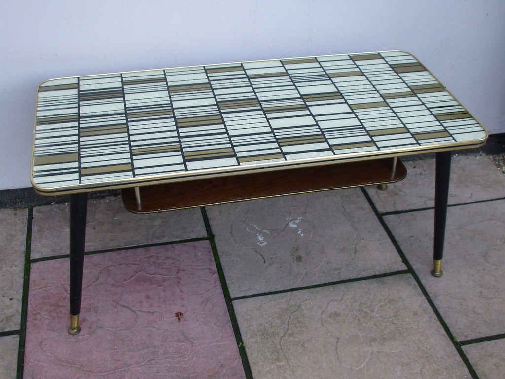 1950 S Retro Op Art Glass Top Coffee Table Mid Century Mod