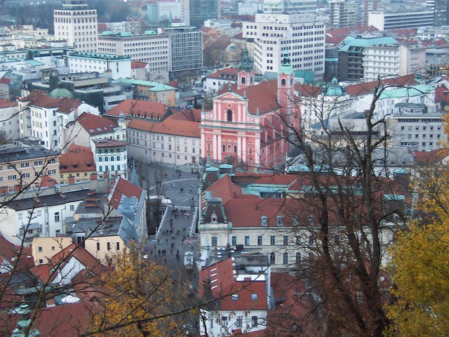 View down to central square in Ljubljana from castle