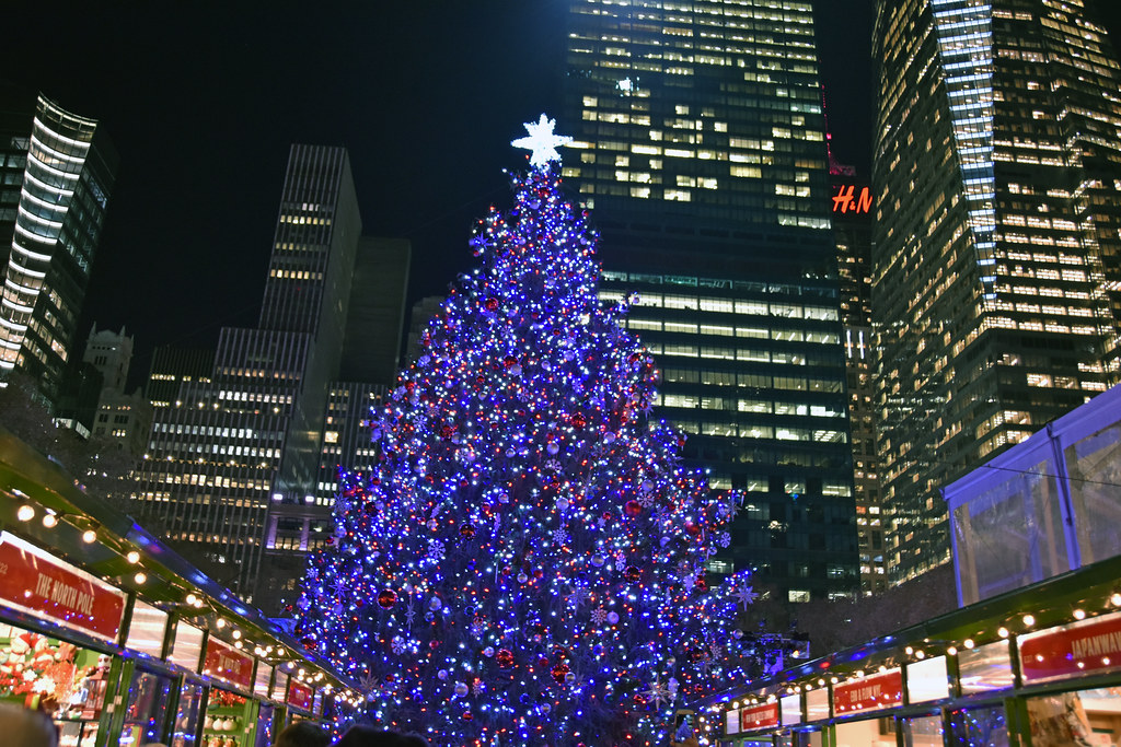 Bryant Park Christmas.A Picture Of The 2017 Bryant Park Christmas Tree In New York