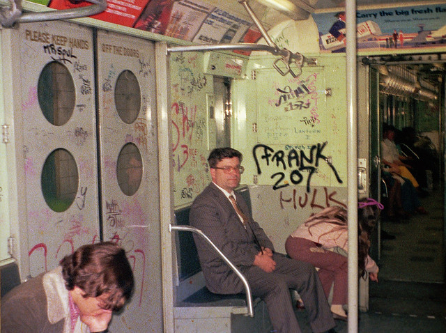 Mr Soul, Mini 125, Frank 207, Stitch 1, Lantern II, Sky 3  and even Hulk added the appropriate ambiance to the 1970s subway experience. That's my dad in a suit. Sis points to something between cars; perhaps a rat. March 1973. New York.