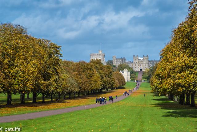 The long walk towards Windsor Castle during autumn - England