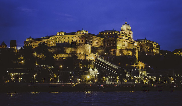 Buda Castle, as seen from the Danube at night #1, Budapest