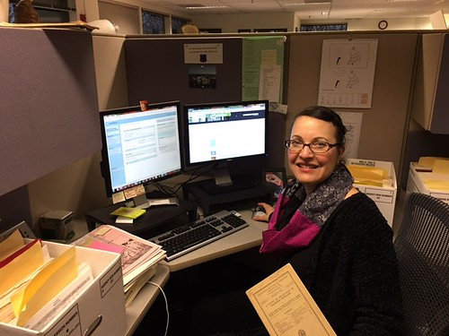 2017. Librarian Lisa Stringfield Prescott documenting gray literature in the National Forest Service Library system. Forest Health Protection Gray Literature Project. Mt. Hood National Forest Headquarters, Sandy, Oregon.