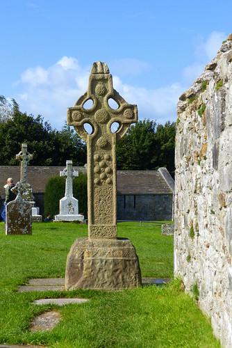 irland ireland èire countyoffaly clonmacnoise kloster monastery turm tower dohle jackdaw kreuz cross landschaft landscape natur nature ivlys