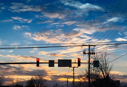 pikesville maryland sky clouds dusk sunset wires poles trafficlights silhouette iphone cmwd